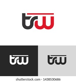 Letter tw linked lowercase logo design template elements. Red letter Isolated on black white grey background. Suitable for business, consulting group company.