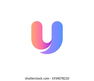 A letter U from abstract multicolors shapes. Application icon logotype design template. Vector icon logo design.