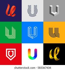 "Letter ""U"" big logo pack. Isometric, line, colorful, ribbon, geometric, luxury vector monograms. Eps10 format."