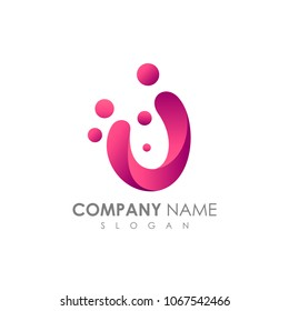 Letter U With Bubble, Initial Letter Logo For Your Company Name, Alphabet Logo Template Ready For Use, Modern Initial Logo