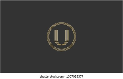 Letter U, U U U Creative Minimal Abstract Unique Luxury Style Premium Graphic Alphabet Icon Vector Logo Design Template Element in Golden color with Gray background.