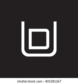 letter U and D monogram square shape logo white black background