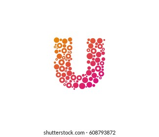 Letter U Dot Circle Bubble Logo Design Element