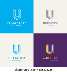 "Letter ""U"" isometric logo set."