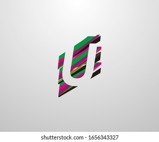 Letter U Logo. Abstract U letter design, made of various Strips shapes in color.