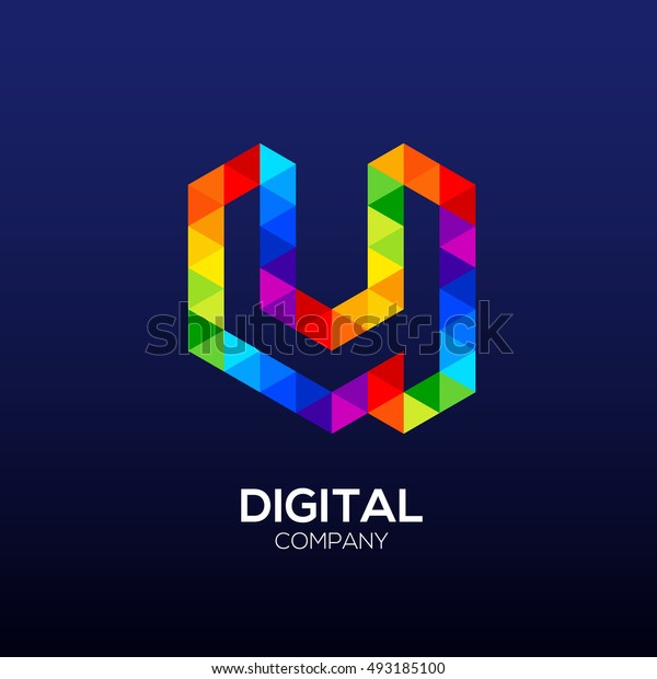 Letter u Logo Design.Hexagon logo,Polygon logo,Digital,Media