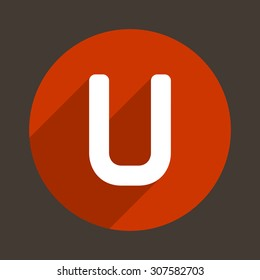 Letter U Logo Flat Icon Style. Vector