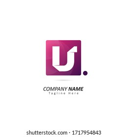 letter U logo inside a square with origami concepts and dot element. Design vector illustration logo for company