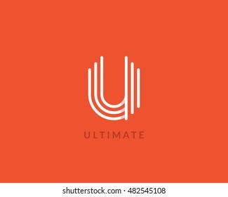 "Letter ""U"" logo monogram. Creative line art design. Eps10 Vector line logotype."