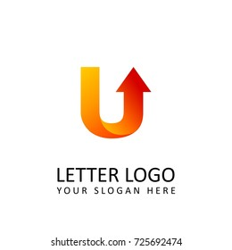 letter U logo template orange round ribbon with arrow head