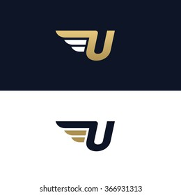 Letter U logo template. Wings design element vector illustration. Corporate branding identity