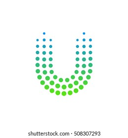 Letter U logo.Dots logo,dotted shape logotype vector design