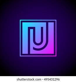 Letter U logo,Square shape symbol,Digital,Technology,Media