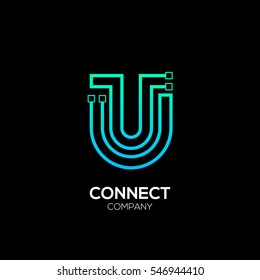 Letter U logotype blue and green color,Technology and digital abstract dot connection vector logo