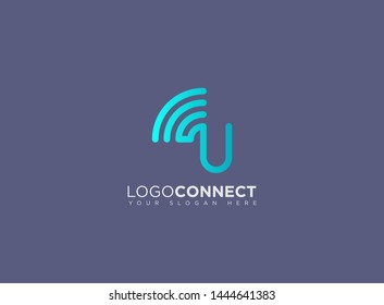 Letter U logotype blue and grey color,Technology and digital abstract connection. Wifi vector logo