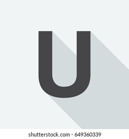Letter U with long shadow on white background. Black symbol in a flat design style. Vector illustration, easy to edit.