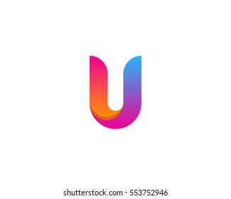 Letter U Modern Gradient Color Logo Design Element