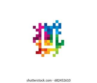 Letter U Pixel Color Mosaic Icon Logo Design Element