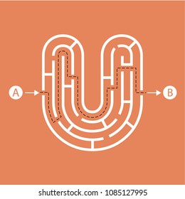 Letter U shape Maze Labyrinth, maze with one way to entrance and one way to exit. Flat design, vector illustration.