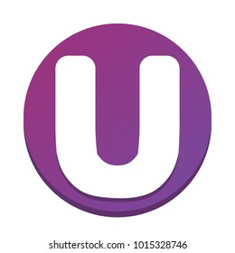 Letter U sign design template element. Vector. White icon with flat shadow on purpureus circle at white background. Isolated.