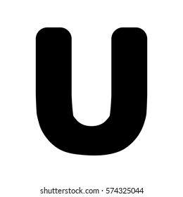 Letter U sign design template element. Flat style black icon on white.