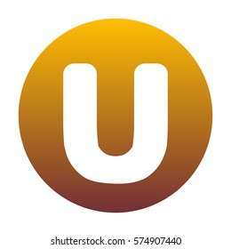 Letter U sign design template element. White icon in circle with golden gradient as background. Isolated.