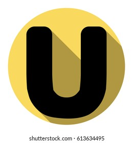Letter U sign design template element. Vector. Flat black icon with flat shadow on royal yellow circle with white background. Isolated.
