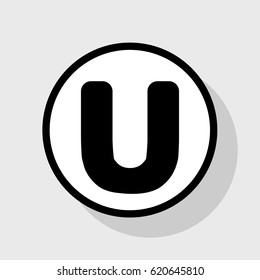 Letter U sign design template element. Vector. Flat black icon in white circle with shadow at gray background.