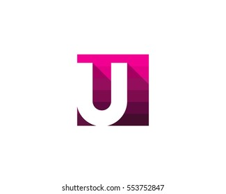 Letter U Square Shadow Logo Design Element