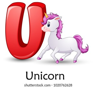 Letter U is for Unicorn cartoon alphabet