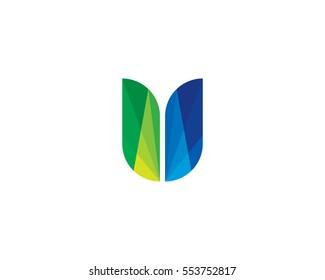 Letter U Unique Colorful Shape Logo Design Element