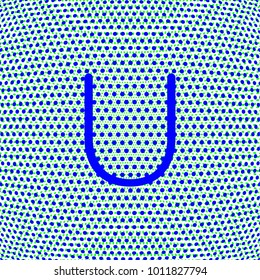 letter U in uppercase with dot effect, blue color for various uses related to teaching and education, editable vector