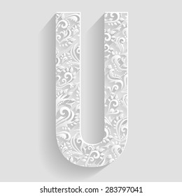 Letter U. Vector Floral Invitation cards Decorative Font