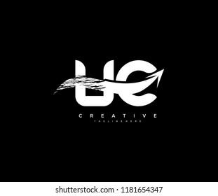 Letter UC with Artistic Bold Grunge Arrow Shape Logo