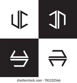 letter UC CN UN logo vector. simple geometry alphabet logo template