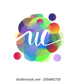 Letter UC logo with colorful splash background, letter combination logo design for creative industry, web, business and company.
