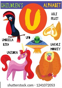Letter U.Cute children's alphabet with adorable animals and other things.Poster for kids learning English vocabulary.Cartoon vector illustration.
