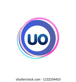 Letter UO logo with colorful circle, letter combination logo design with ring, circle object for creative industry, web, business and company.