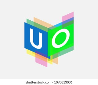Letter UO logo with colorful geometric shape, letter combination logo design for creative industry, web, business and company.