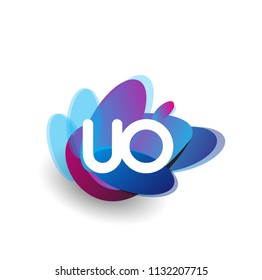 Letter UO logo with colorful splash background, letter combination logo design for creative industry, web, business and company.