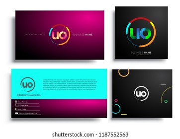 Letter UO logotype with colorful circle, letter combination logo design with ring, sets of business card for company identity, creative industry, web, isolated on white background.