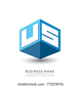 Letter US logo in hexagon shape and blue background, cube logo with letter design for company identity.