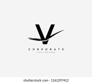 Letter V Artistic Abstract Brush Logo Design