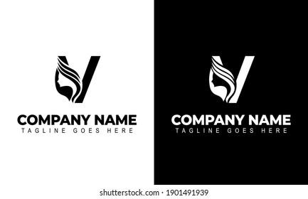 Letter V Beauty Women Face Logo Design Vector Illustration
