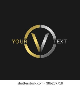 Letter V Business round logo with golden and silver elements for your company brand