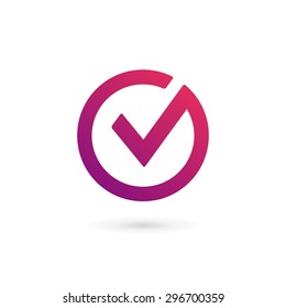 Letter V check mark logo icon design template elements