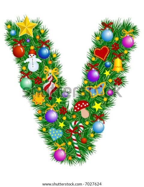 Letter V - Christmas tree decoration - Alphabet