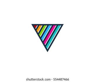 Letter V Color Line Triangle Logo Design Element