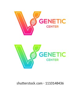 Letter V colorful with DNA structure and genetic biotechnology, Science and laboratory concept logotype