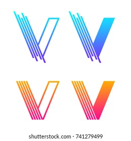 Letter V Colorful logotype with Modern line Technology and Digital Connection concept for your Corporate identity